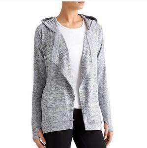 Athleta Gray Blissful Wrap Hooded Cardigan Sweater